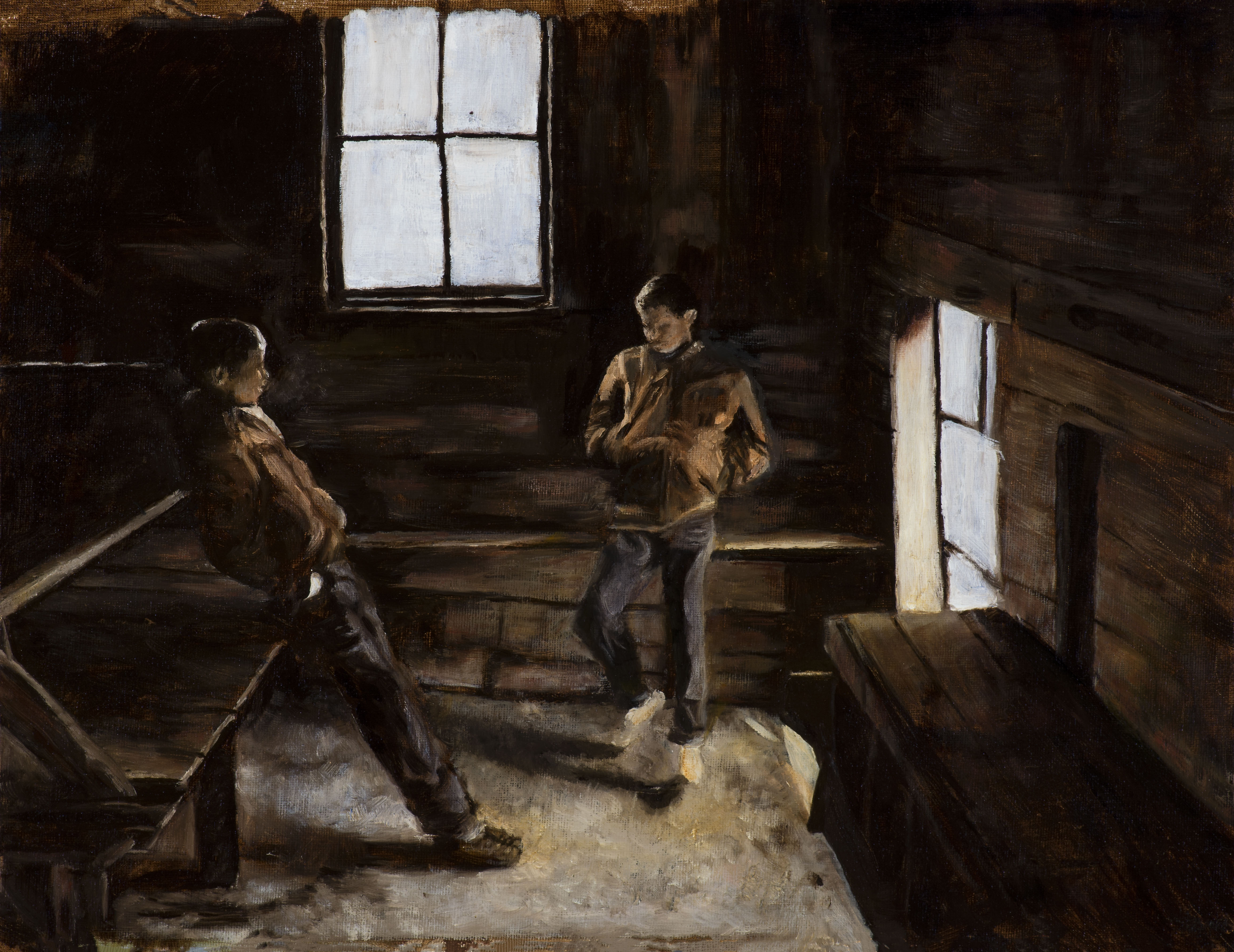 """<strong>Shed Boys</strong> (on board) 17 ⅜"""" x 13 ¼"""" <br />(22 ½"""" x 18 ½"""" framed) - $1,200"""