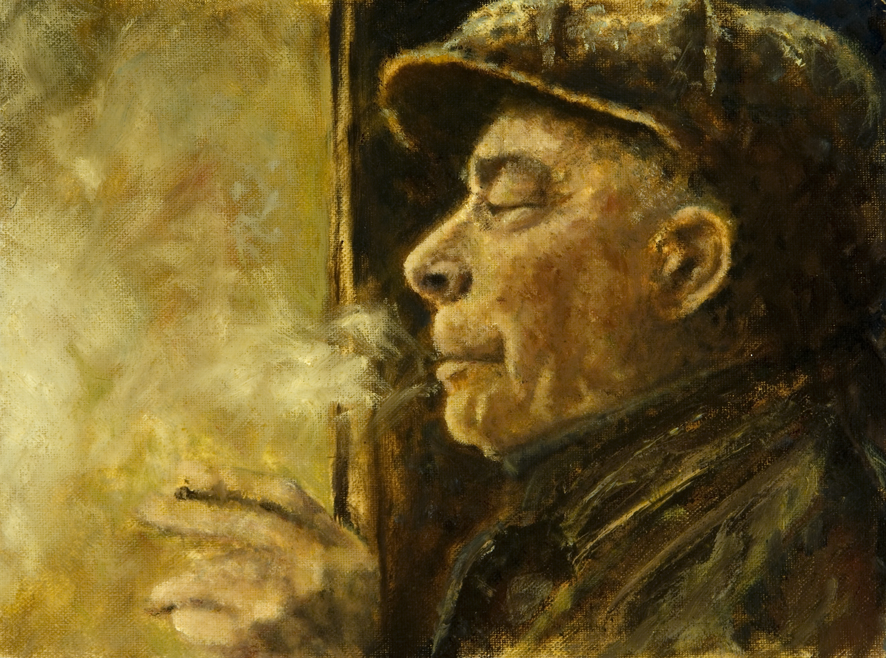 """<strong>Terminal Man</strong> Original is oil on canvas.<br />11 ½"""" x 8 ½"""" with 2"""" border - $175"""
